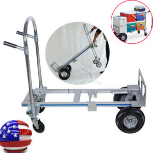 2 In1 Aluminum Hand Truck 770lbs 51 Height Convertible Foldable 4 Wheel Cart A3