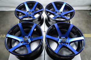 15x8 Wheels Honda Accord Civic Cobalt Escort Corolla Jetta Black Blue 4x1