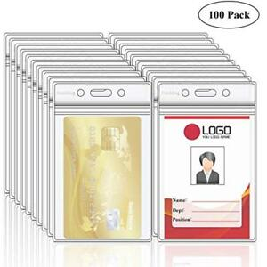 Pack Badge Holders Of 100 Clear Plastic Vertical Holders Name Tag Card xxl
