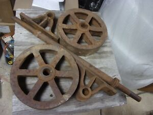 Vtg Antique Hit Miss Gas 7 Cast Iron Cart Axle Wagon Wheels Casters Shaft Old