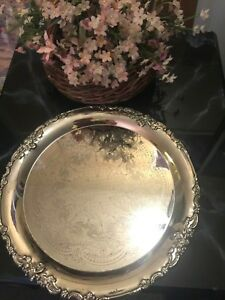 Godinger 20th Century Baroque 12 1 2 Diameter Silver Plated Tray Platters