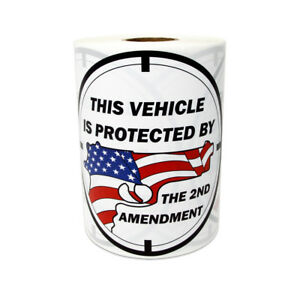 4 Round Vehicle Protection Stickers American Flag Gun 2nd Amendment Labels 5pk