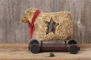 Vintage Distressed Antique Sheep With Cart Pull Toy Primitive Country Farmhouse
