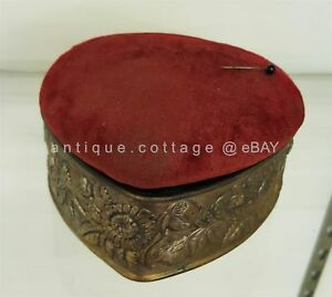 Antique Victorian Heart Dresser Sewing Box W Pin Cushion Lid Repousse Sunflower