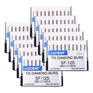50kits Dental Diamond Burs Sf 12s High Speed Handpiece Sraight Round Head Azdent