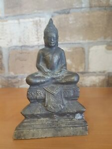 1850s Antique Bronze Seated Buddha Statuette Cambodia Burma Laos Thai Rare