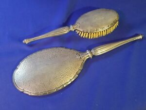 Deco Vanity Webster Sterling Silver Hammered Finish 2pc Brush Mirror Nice