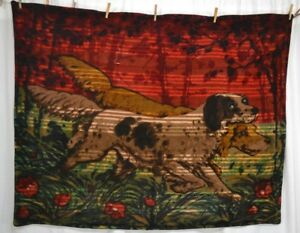 Antique Rug Robe Blanket Sleigh Hunting Hounds Pointers Wool 62x49 1890 1910