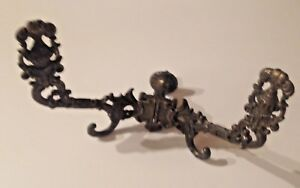 Vintage Ornate Brass Wall Mount Double Coat Hook