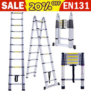 16 5 Ft Aluminum Folding Telescoping Ladder Extension Multi purpose Heavy Duty