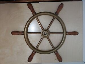 Solid Brass Salvaged Ship S Wheel With Wood Handle Grips Vintage Nautical