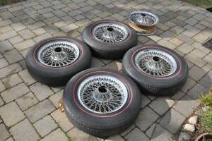 Jaguar Xke E type Wire Wheels set Of 5 With Red Line Tires