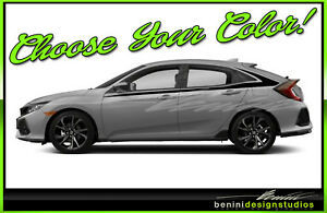 Honda Civic Racing Vinyl Stripes 2016 2017 2018 2019 Si Style 1