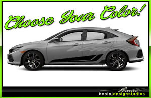 Honda Civic Racing Vinyl Rocker Stripes 2016 2017 2018 2019 Si Style 3