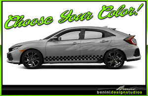 Honda Civic Racing Vinyl Checkers Rocker Stripes 2016 2017 2018 2019 Si Style 11