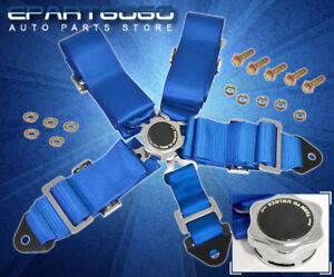 5 Point Camlock Fast Release Racing Seat Belt Harness Blue Civic Prelude Del Sol
