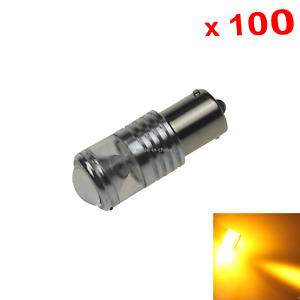 100x Yellow Auto 1156 Marker Lamp Single Light 4 Epistar Led G18 706 Z21020