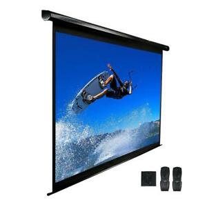 113 In Electric Projection Screen Projector Motorized Retractable White Case