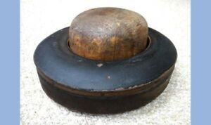 Antique Victorian 2pc Wood Fashion Hat Form Mold W Wide Brim Millinery Block