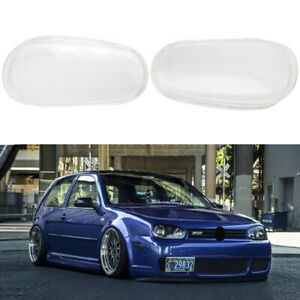 Pair Left Right Clear Glass Headlight Lens Driver Side For Vw Mk4 Golf Gti R32