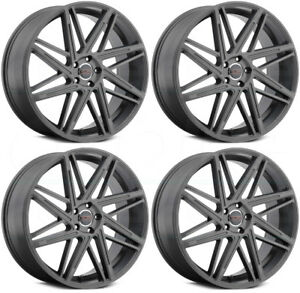 22x9 Milanni 9062 Blitz 5x120 15 Anthracite Wheels Rims Set 4