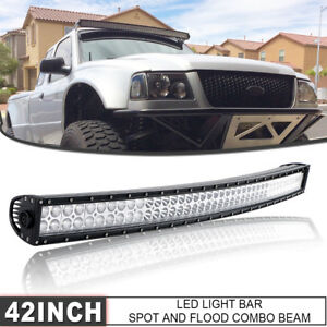 42 inch Curved Led Light Bar Driving Spot Flood Pickup Suv Atv 4x4 Offroad 40 44