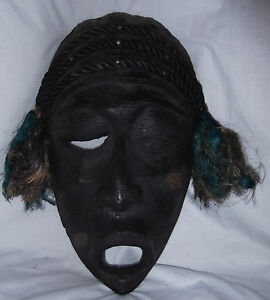Vtg Large 18 West African Wood Winking Rope Signed Hand Carved Ceremonial Mask