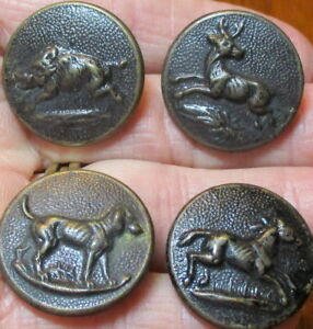 Antique Lot Of 4 Boar Deer Dog Horse Buttons Paris Backs 7 8 Vintage Sport Hunt