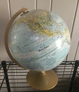 Vintage Globe Replogle World Nation Series 12 Raised Relief Topography 3945