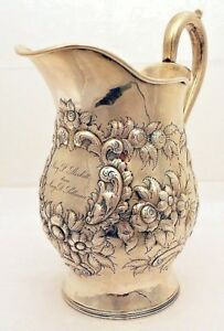 An Early Repousse Coin Silver Bar Pitcher A E Warner Baltimore C 1830