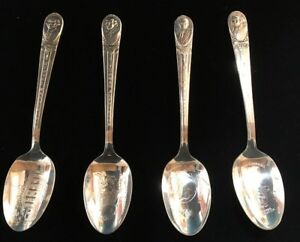 4 Vintage Silver Plated President Spoons 6 William Rogers Is U