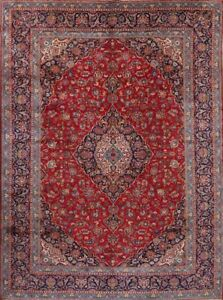 Great Condition Floral Red 10x14 Kaashan Persian Oriental Area Rug 13 6 X9 9