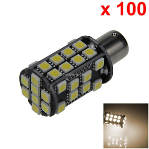100x Warm White Auto 1156 Tail Lamp Indicator Light 40 5050 Smd Led S25 7506 D01