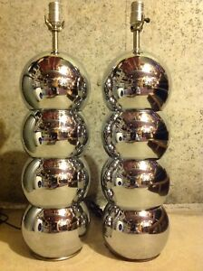 Pair Large Mid Century Modern George Kovacs Stacked Ball Chrome Table Lamps