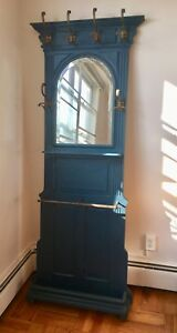 Antique Entryway Hall Stand Tree Shallow Brass Hooks Mirror Shelf