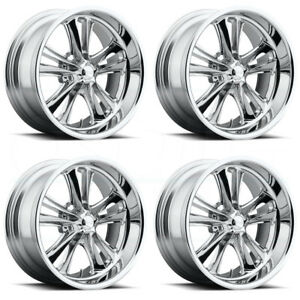 17x7 Foose Knuckle F097 5x4 5 1 Chrome Wheels Rims Set 4