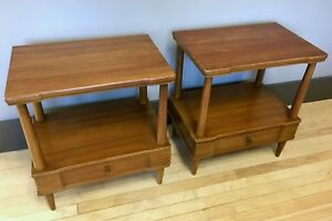 Pair Of End Side Tables W Drawers By John Widdicomb Mid Century Modern Mcm 2