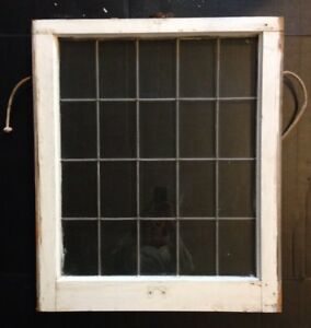 Antique Leaded Glass Wood Framed Window Sash Lower Church Salvage Vintage