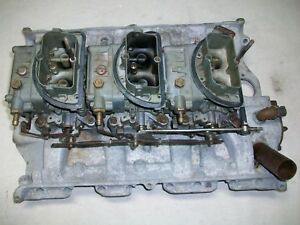 Ford Fe Galaxie 390 428 Tri Power 3x2 Intake Manifold Holley Carbs Oem
