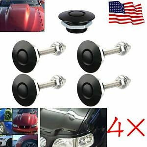4x Black Push Button Billet Hood Pins Lock Clip Set Car Quick Lock Latch Bonnet