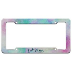 Cat Mom Colorful License Plate Tag Frame