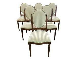Striped Velvet Set Of Six Antique Medallion Louis Xvi Style Dining Chairs