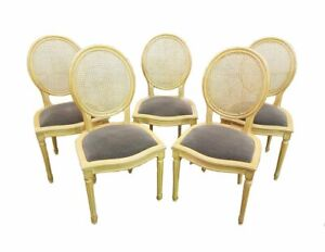 Set Of 5 French Vintage Cane Back Louis Xvi Gray Medallion Dining Chairs