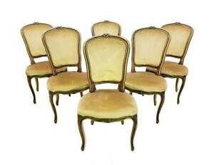 Vintage Set Of Six French Louis Xv Style Long Back Dining Chairs Velvet Beige Go