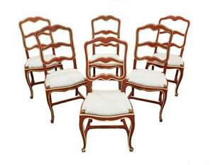 Set Of Six Unique Shabby Chic Early 1940s Vintage French Country Oak Ladder Back