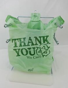 Bio degradable Thank You Green Plastic T shirt Bags 11 5 X 6 X 21 Bags Only