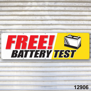 Free Battery Test Banner Sign Auto Repair Tire Dealer Service Bay