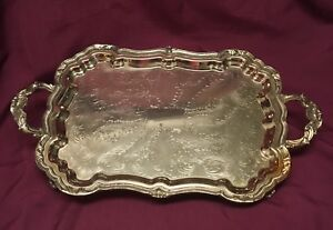 Vintage Eton 24 Silver Plated Footed Butler S Tray Serving Plate Ornate