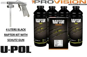 U pol Raptor Up0820 Black Truck Bed Liner 4 Liters With Spray Gun u pol Up0820