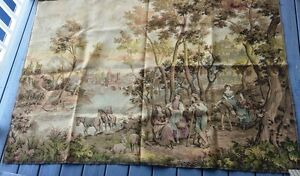 Antique Belgian Tapestry Pastoral Village Scene 73 By 53